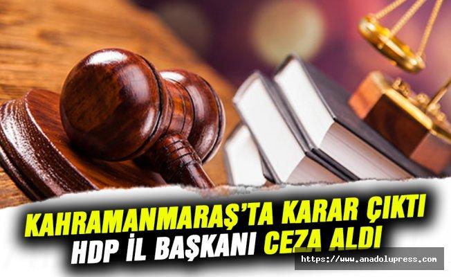 Kahramanmaraş'ta, HDP İl Başkanı hapis cezası aldı