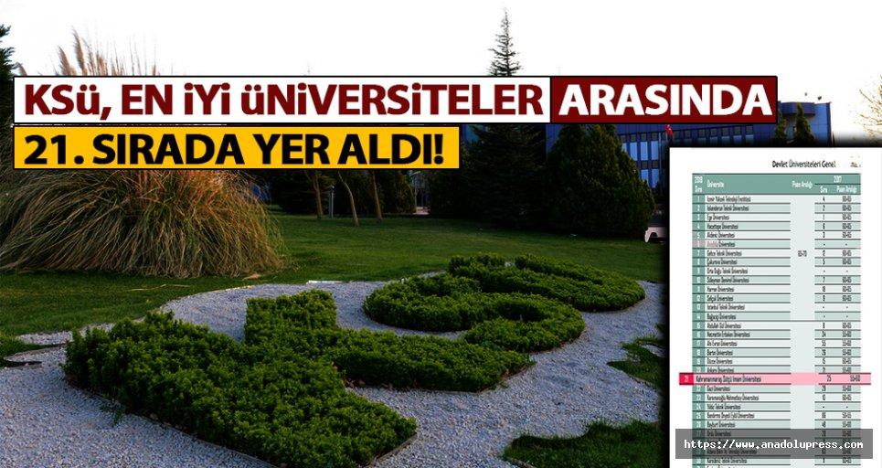 KSÜ, En İyi Üniversiteler Arasında 21. Sırada!