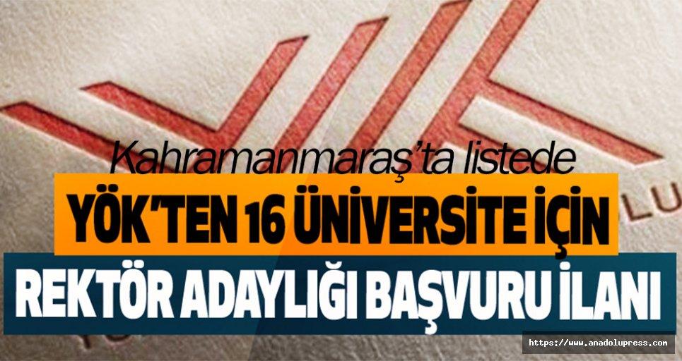 Kahramanmaraş İstiklal Üniversitesi'ne Rektör Aranıyor