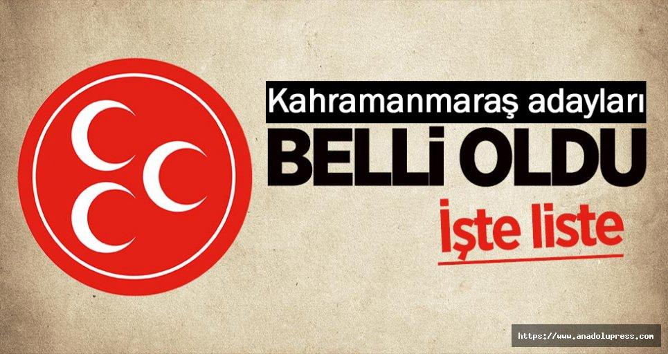 MHP Kahramanmaraş adayları belli oldu!