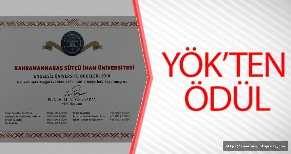 YÖK'ten KSÜ'ye Ödül