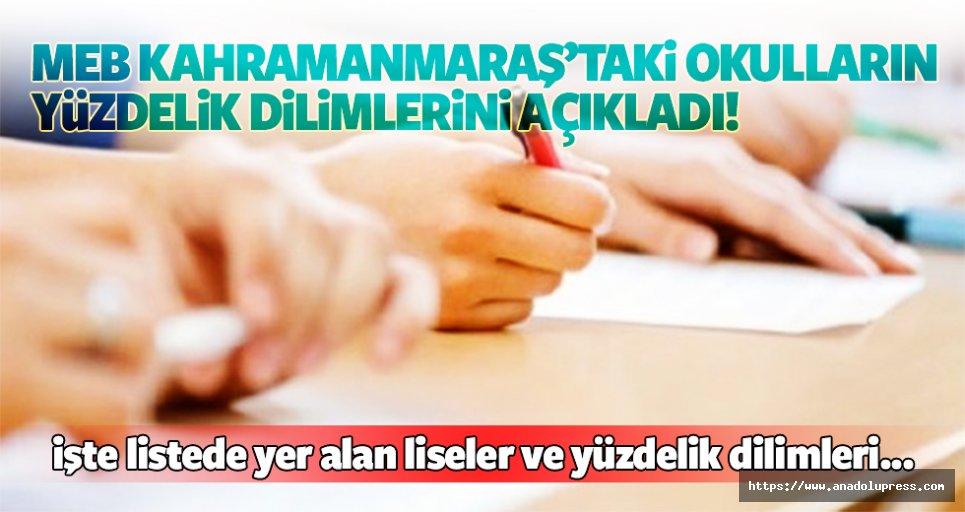 MEB Kahramanmaraş'taki liselerin yüzdelik dilimlerini açıkladı!