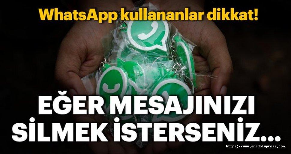 WhatsApp'ın 'Mesajıgeri al' özelliğinde süre arttı!Artık1 saat değil