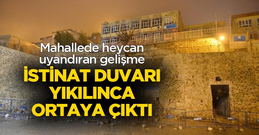 İstinat duvarı yıkılınca tarihi mescidin kalıntısı bulundu
