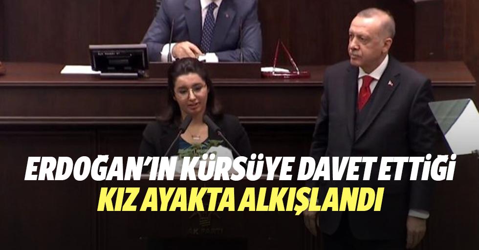 Erdoğan'ın kürsüye davet ettiği kız ayakta alkışlandı