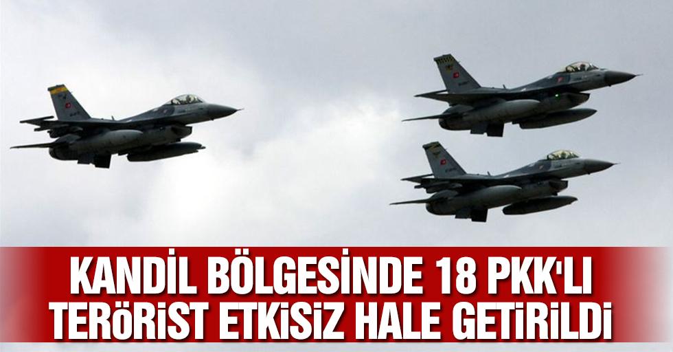 Kandil Bölgesinde 18 PKK'lı Terörist Hava Harekatıyla Etkisiz Hale Getirildi