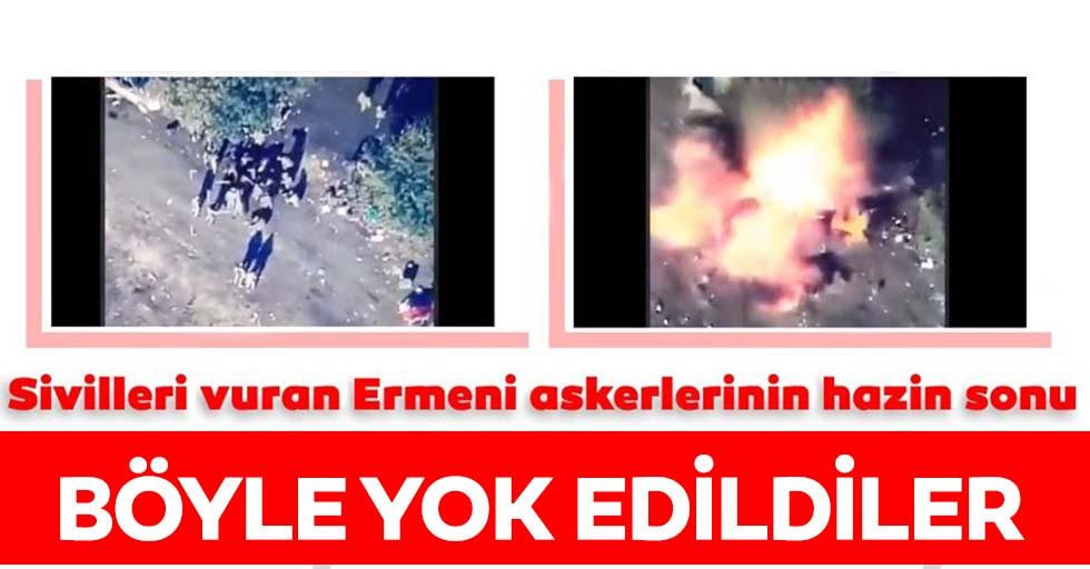 SİHA'lardan dehşet vuruş! Ateşkesi ihlal eden Ermeni askerleri böyle havaya uçuruldu...