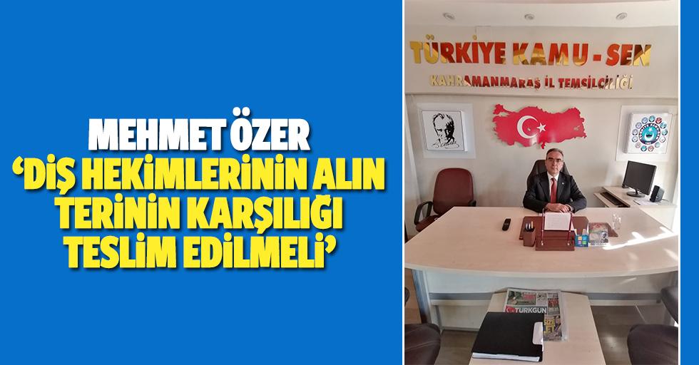 Mehmet Özer, 'Diş hekimlerinin alın terinin karşılığı teslim edilmeli'