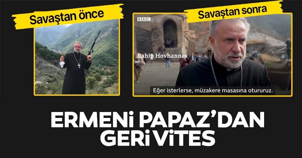 Savaş öncesi silah gösteren Ermeni papazından geri vites