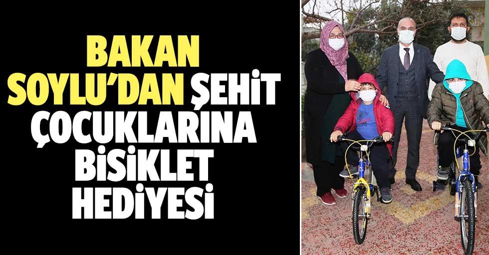 Bakan Soylu'dan şehit çocuklarına bisiklet hediyesi