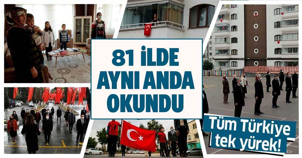 81 ilde aynı anda İstiklal Marşı okundu!
