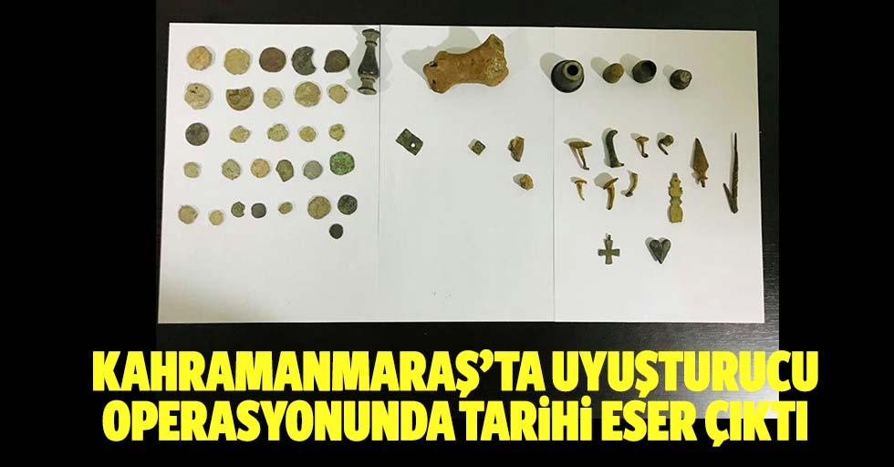 Kahramanmaraş'ta uyuşturucu operasyonunda tarihi eser çıktı