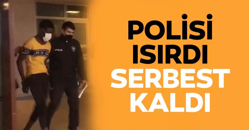 Polisi ısırdı serbest kaldı