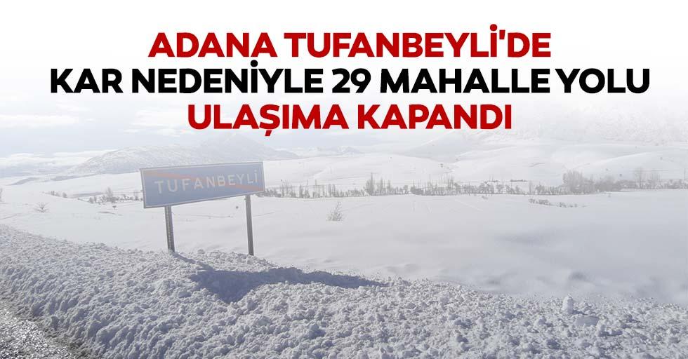 Adana Tufanbeyli'de kar nedeniyle 29 mahalle yolu ulaşıma kapandı