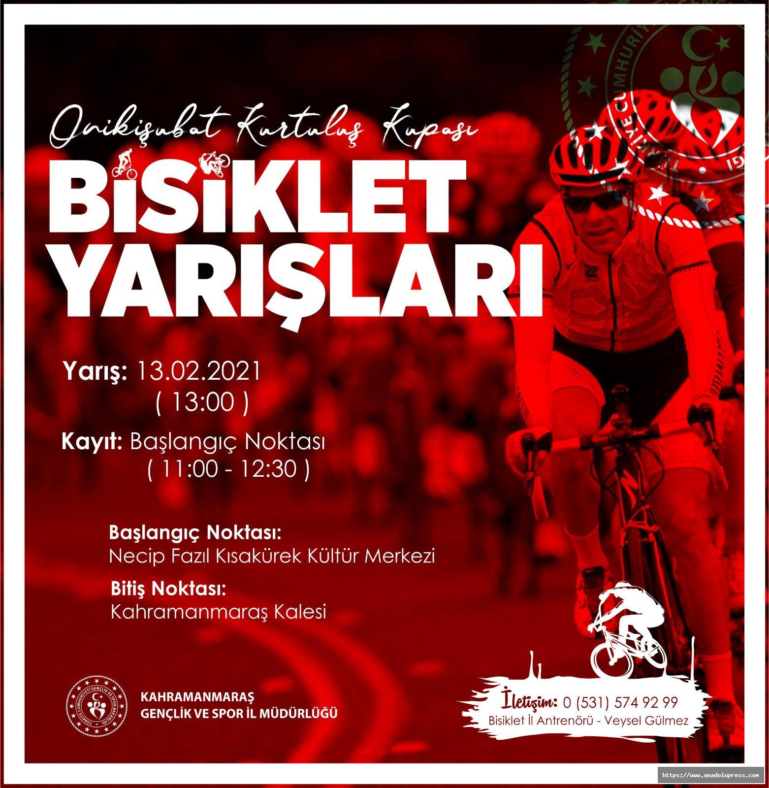 Kahramanmaraş'ta bisiklet yarışları düzenlenecek