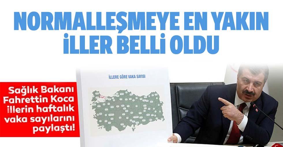 Sağlık Bakanı Fahrettin Koca, illerin haftalık vaka sayılarını paylaştı! İşte normalleşmeye yakın iller