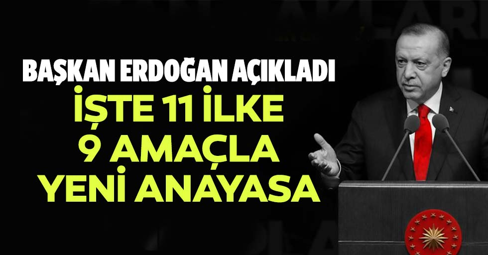 Başkan Erdoğan açıkladı, işte 11 ilke 9 amaçla yeni anayasa