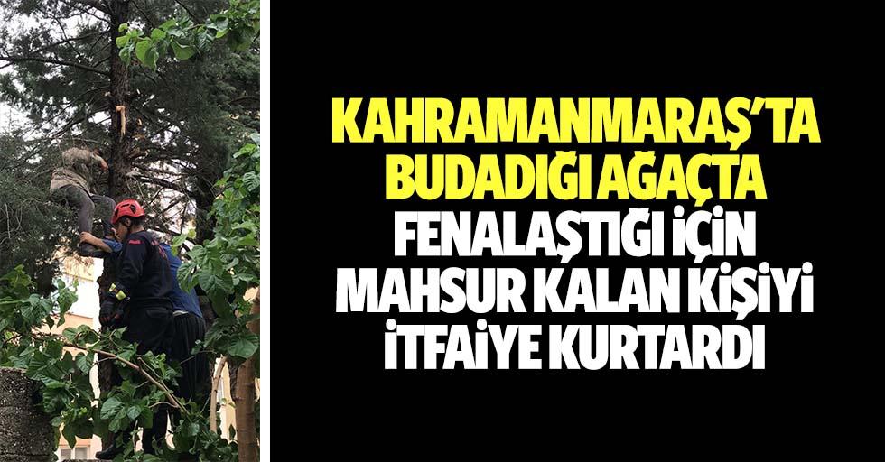 Kahramanmaraş'ta budadığı ağaçta fenalaştığı için mahsur kalan kişiyi itfaiye kurtardı