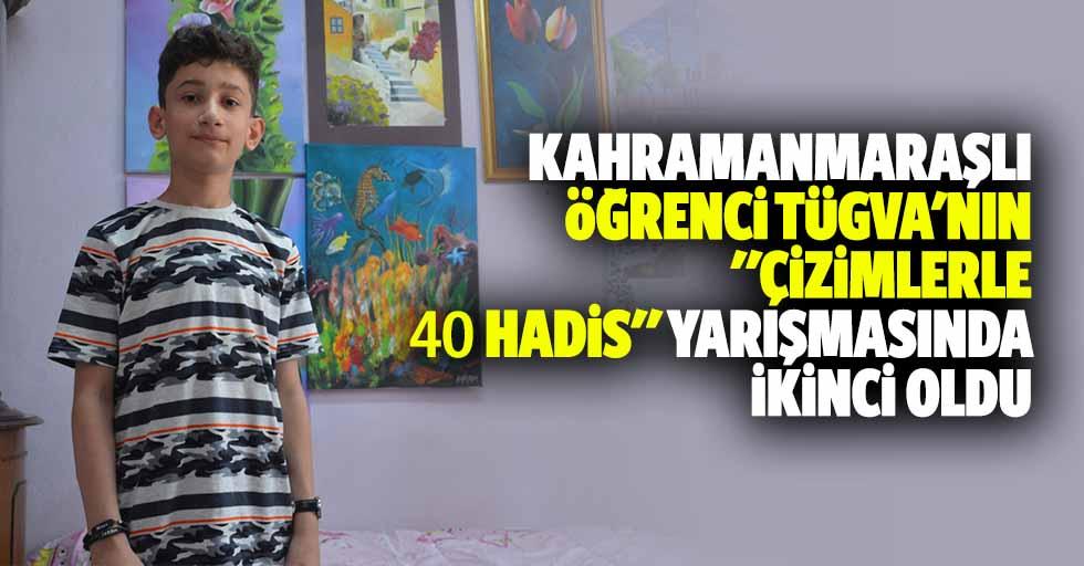 """Kahramanmaraşlı öğrenci TÜGVA'nın """"çizimlerle 40 hadis"""" yarışmasında ikinci oldu"""