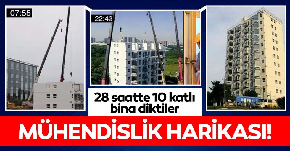 Mühendislik harikası! 28 saatte 10 katlı bina inşa edildi
