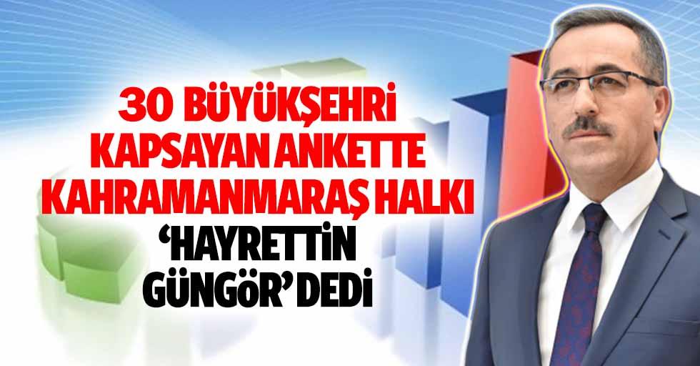 30 Büyükşehri kapsayan ankette Kahramanmaraş halkı ankette 'Hayrettin Güngör' dedi