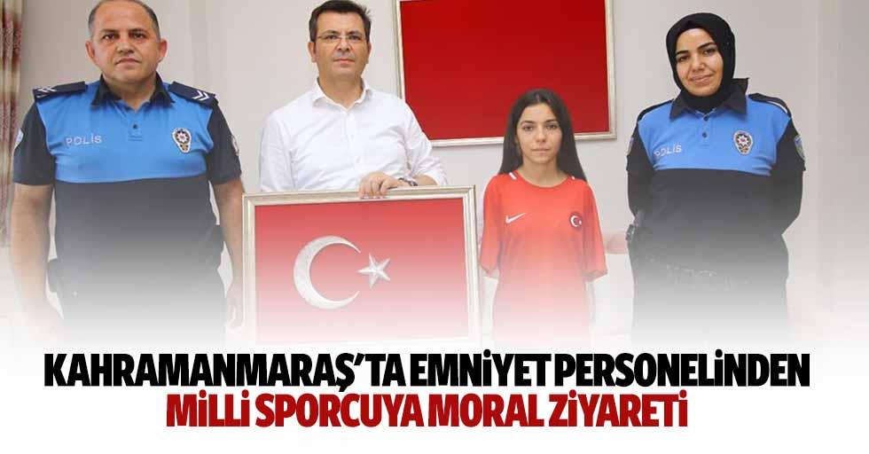 Kahramanmaraş'ta Emniyet Personelinden Milli Sporcuya Moral Ziyareti