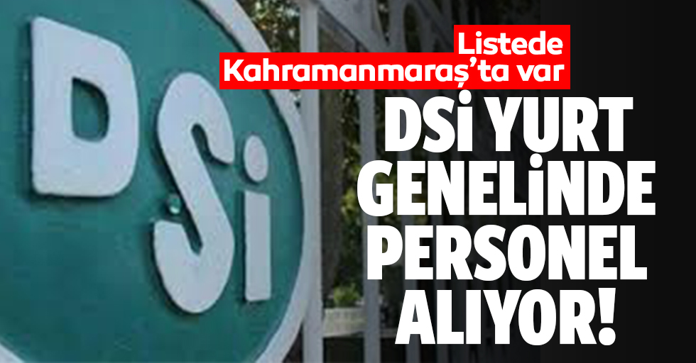 DSİ Kahramanmaraş Bölge Müdürlüğü 92 personel alımı yapacak