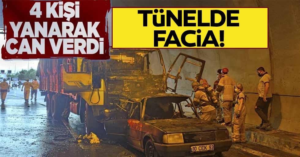 Tünelde feci kaza! 4 kişi yanarak can verdi