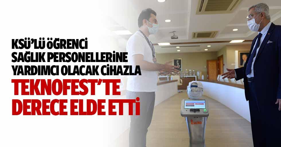KSÜ'lü Öğrenci Sağlık Personellerine Yardımcı Olacak Cihazla Teknofest'te Derece Elde Etti
