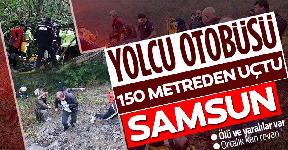 Samsun'da yolcu otobüsü 150 metreden dereye yuvarlandı