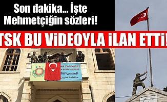 Mehmetçik, Afrin şehir merkezine Türk Bayrağını astı!