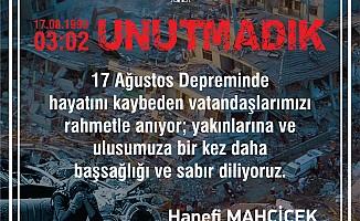 """Mahçiçek """"Allah Ülkemizi Tüm Felaketlerden Muhafaza Eylesin"""""""