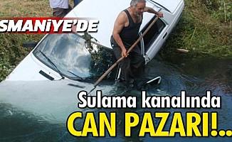 Osmaniye'de Otomobil Sulama Kanalına Devrildi