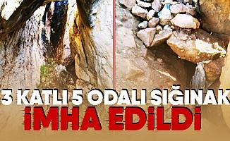 PKK'lı teröristlere ait 3 katlı 5 odalı sığınak bulundu