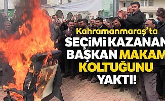 Kahramanmaraş'ta yeni başkan makam koltuğunu yaktı!