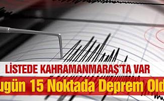 Bugün 15 Noktada Deprem Oldu
