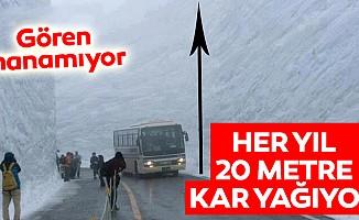 Her yıl 20 metre kar yağıyor