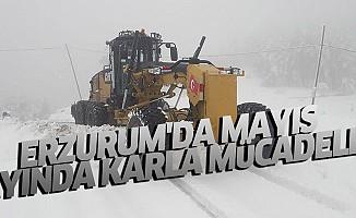 Erzurum'da mayıs ayında karla mücadele