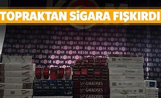 Kahramanmaraş'ta kaçak sigaralar toprağa gömülü bulundu