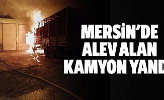 Mersin'de alev alan kamyon yandı