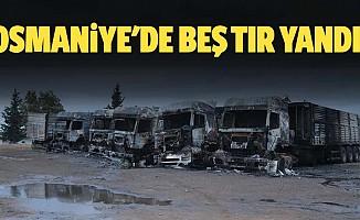 Osmaniye'de park halinde 5 tır, çıkan yangında kullanılmaz hale geldi