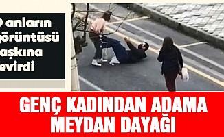 Genç kadın bıçakla saldırdığı adamı yere yatırıp böyle dövdü!