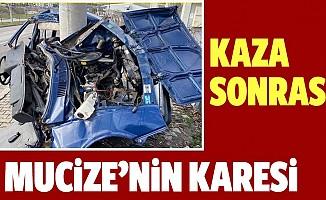 Otomobilin hurdaya döndüğü kazada mucize kurtuluş!