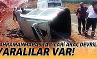 Ticari araç devrildi, yaralılar var!