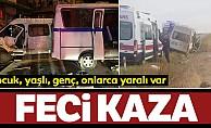 Minibüs devrildi: 24 yaralı!