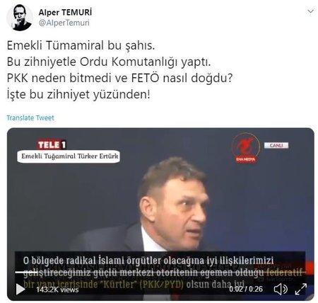 ODA TV yazarı Emekli Tuğamiral Türker Ertürk'ten skandal sözler: Sınırımızda PYD olsun! haberi